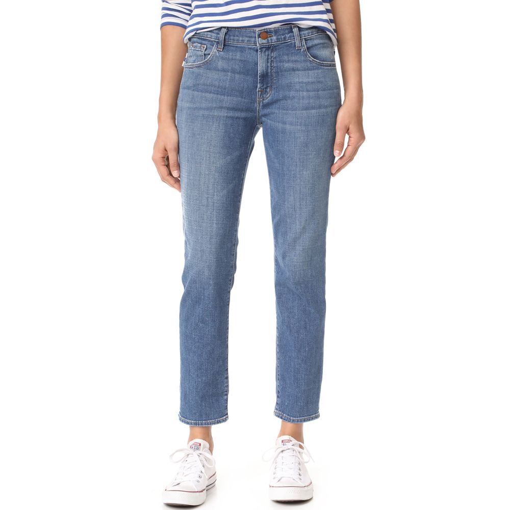 - J Brand Johnny Mid Rise Boy Fit Jeans, $228