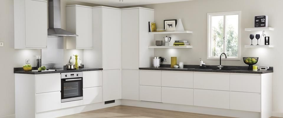 Good layout with tall cabinets in the corner gloss units for White gloss tall kitchen units