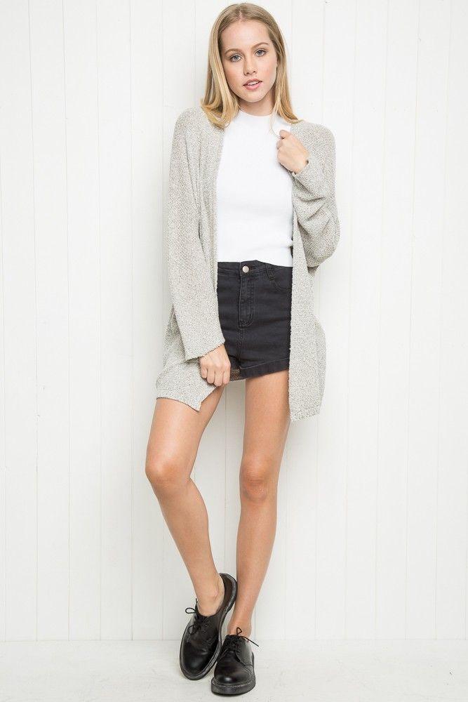 b62c02684e White crop top + black shorts + grey cardigan + black lace up shoes ...