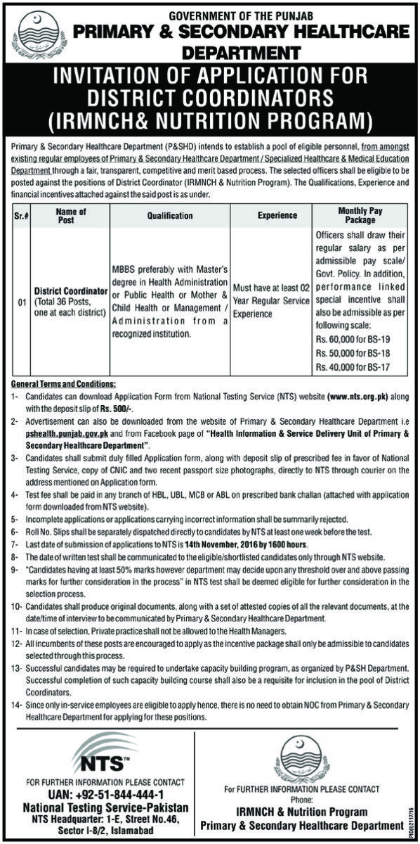 primary  secondry health department district coordinators nts jobs  primary  secondry health department district coordinators nts jobs