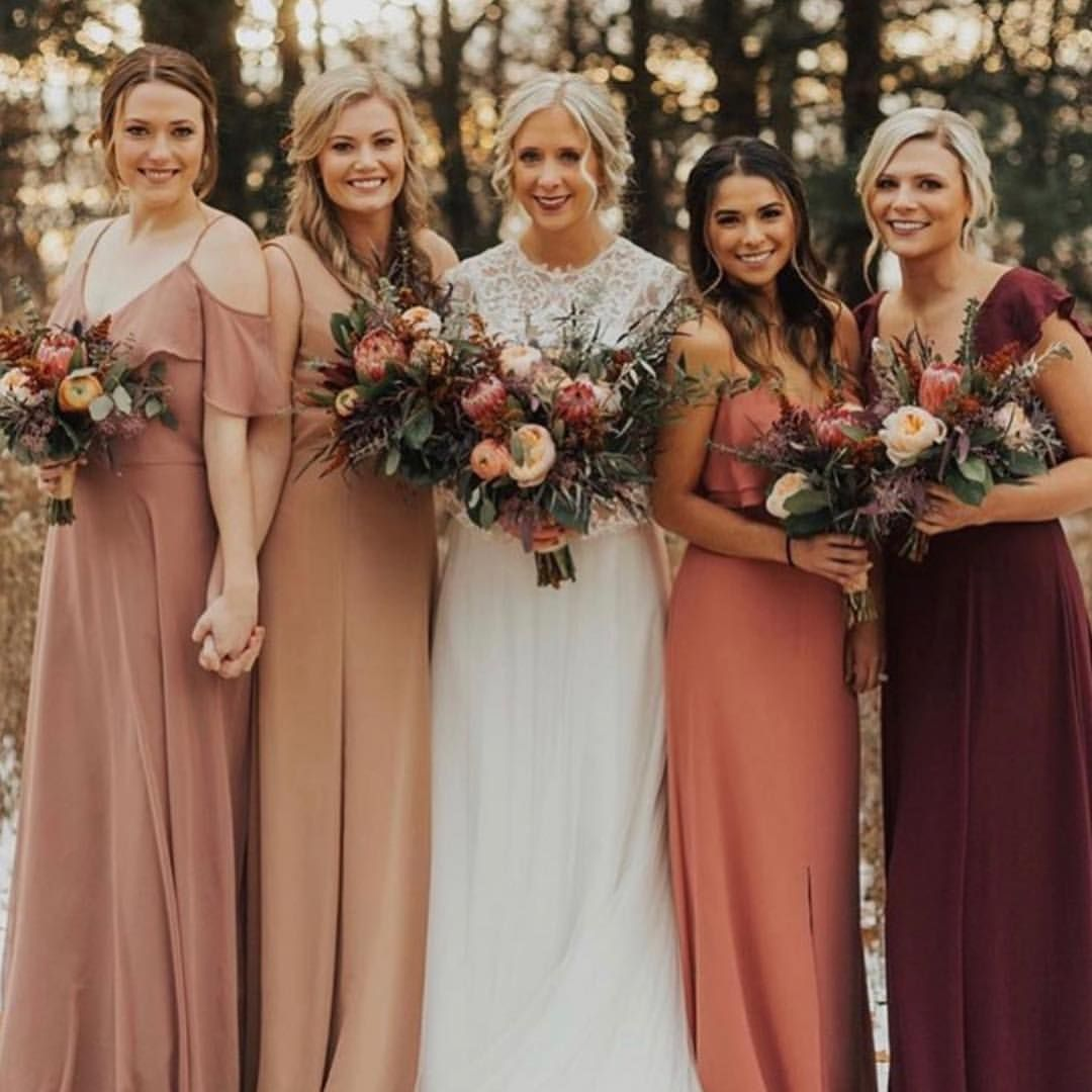 The Dreamiest Fall Colors Paired Perfectly With Our 7702 Beauty Dusty Rose Bridesmaid Dresses Rose Bridesmaid Dresses Fall Bridesmaid Dresses