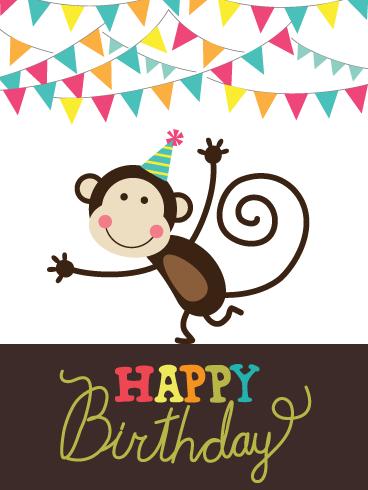 Monkeying Around Happy Birthday Card For Boys Birthday Greeting Cards By Davia Happy Birthday Cards Happy Birthday Posters Birthday Cards For Boys