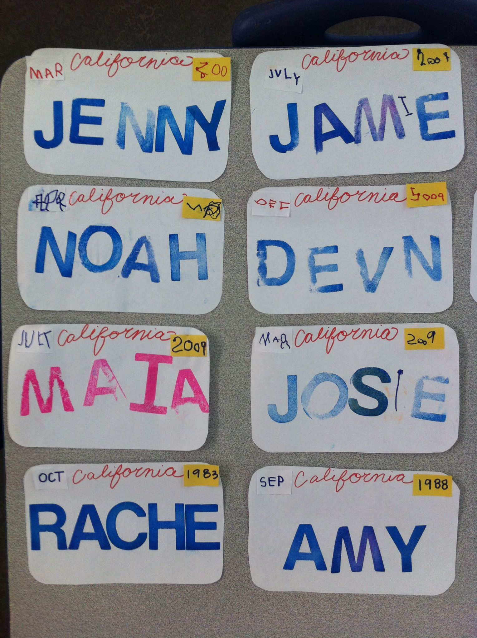 Transportation week-License plates- kids wrote the month and year ...