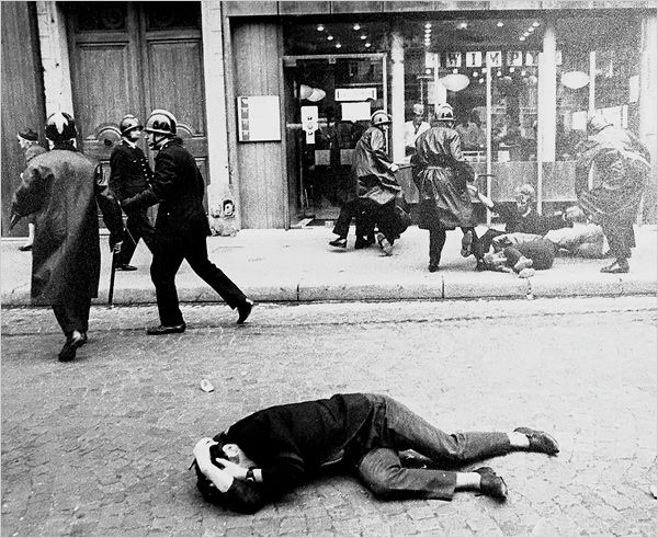 Paris, May 1968 - A protester on the ground during clashes with the police. Photo: Associated Press. Source: Source: nytimes.com