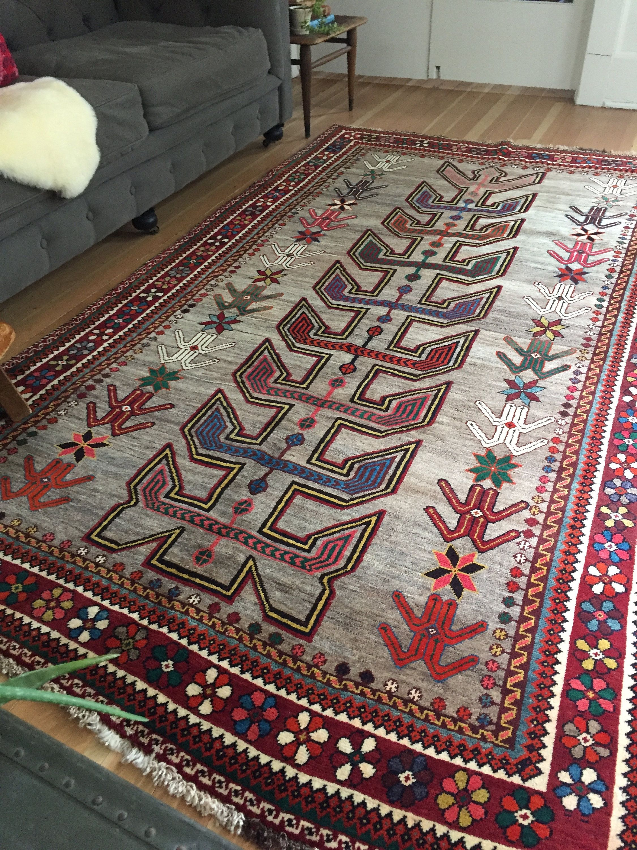 Antique Vintage Persian Heriz Area Rug 8 8 X 5 Colorful Bohemian