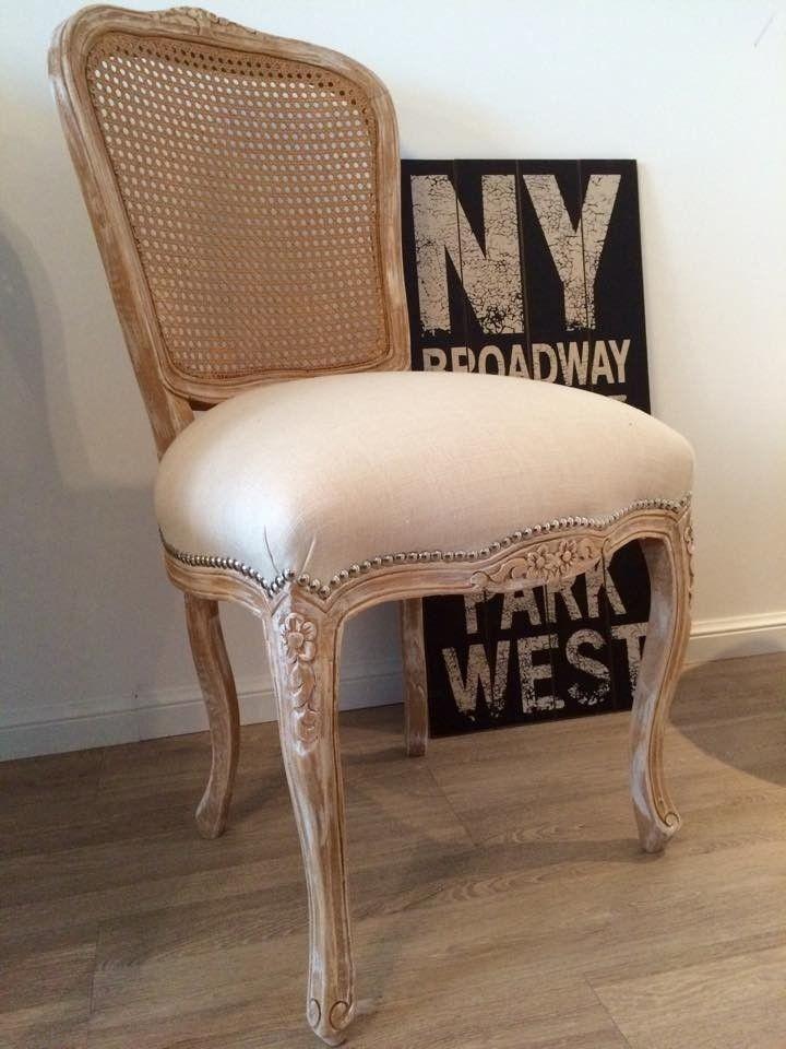 silla luis xv con respaldo esterillado tapizado de