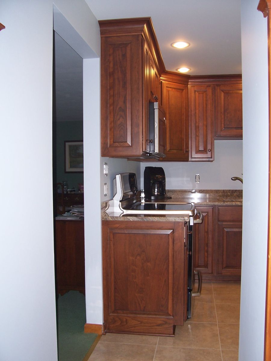 Cabinet Side Paneling Example Darker Cherry Kitchen Cabinets