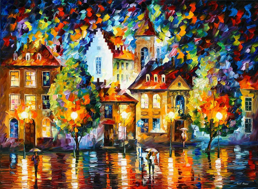 Painting - Luxemburg Night by Leonid Afremov #affiliate , #Sponsored, #SPONSORED, #Luxemburg, #Afremov, #Leonid, #Painting