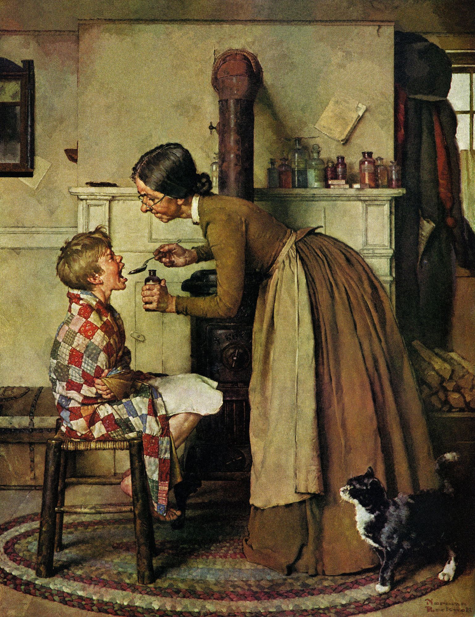Vintage Norman Rockwell Thanksgiving Painting 8x10 Real Canvas Art Print