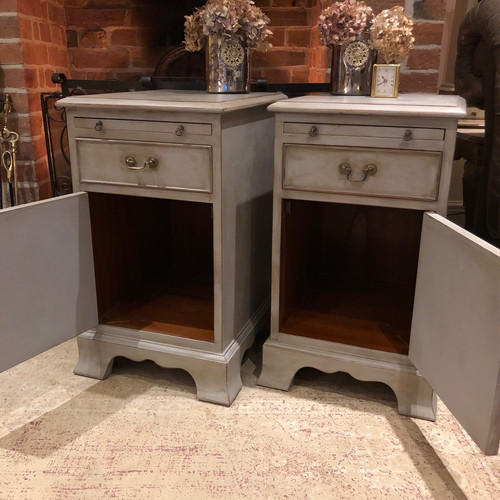 Matching Pair Of Vintage Grey Hand Painted Country Chic Bedside Cabinets Tables Vintage Country Country Farmhouse Country Chic