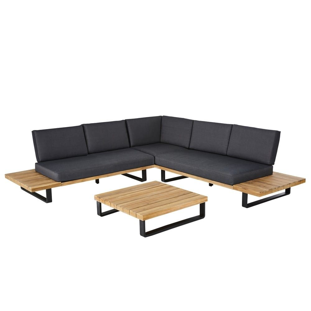 Salon De Jardin De 4 5 Plazas De Aluminio Y Acacia Maciza Garden Seating Furniture Loft Furniture