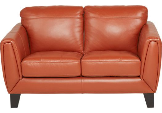 Livorno Papaya Leather Loveseat Leather Loveseat Love Seat Leather Sofa