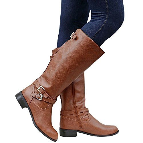 51a36095bb5b SALE PRICE -  33.99 - Ermonn Womens Wide Calf Riding Boots Knee High Buckle  Strappy Winter Chunky Combat Boots