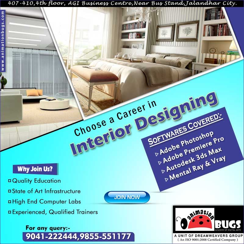 Animation Bugs is the Best Institute for Interior Designing in Jalandhar. It provides a lot of job opportunities for their students in architecture field.