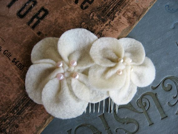 Ivory Felt and Pearl Flower Hair CombWedding or Formal by Astatula, $14.00