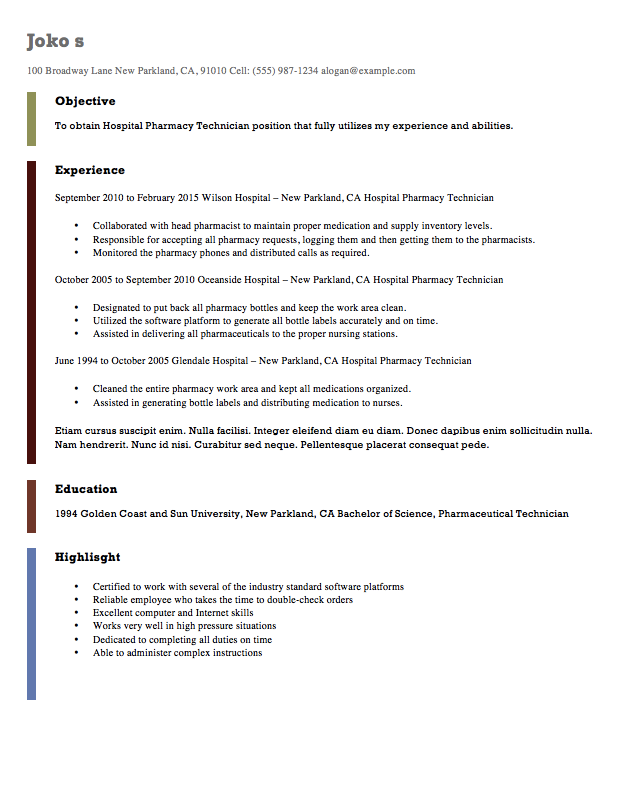 Sample Hospital Pharmacy Technician Resume  Http