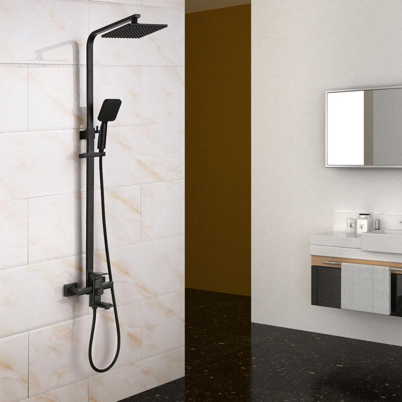 Brass Shower Faucet Set Adjustable Shower Head Rotatable Spout