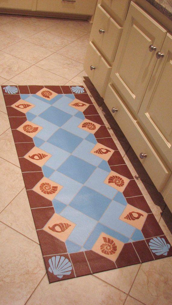 Floor Cloth Shell Tiles 24 X 48 Inches Floor Cloth