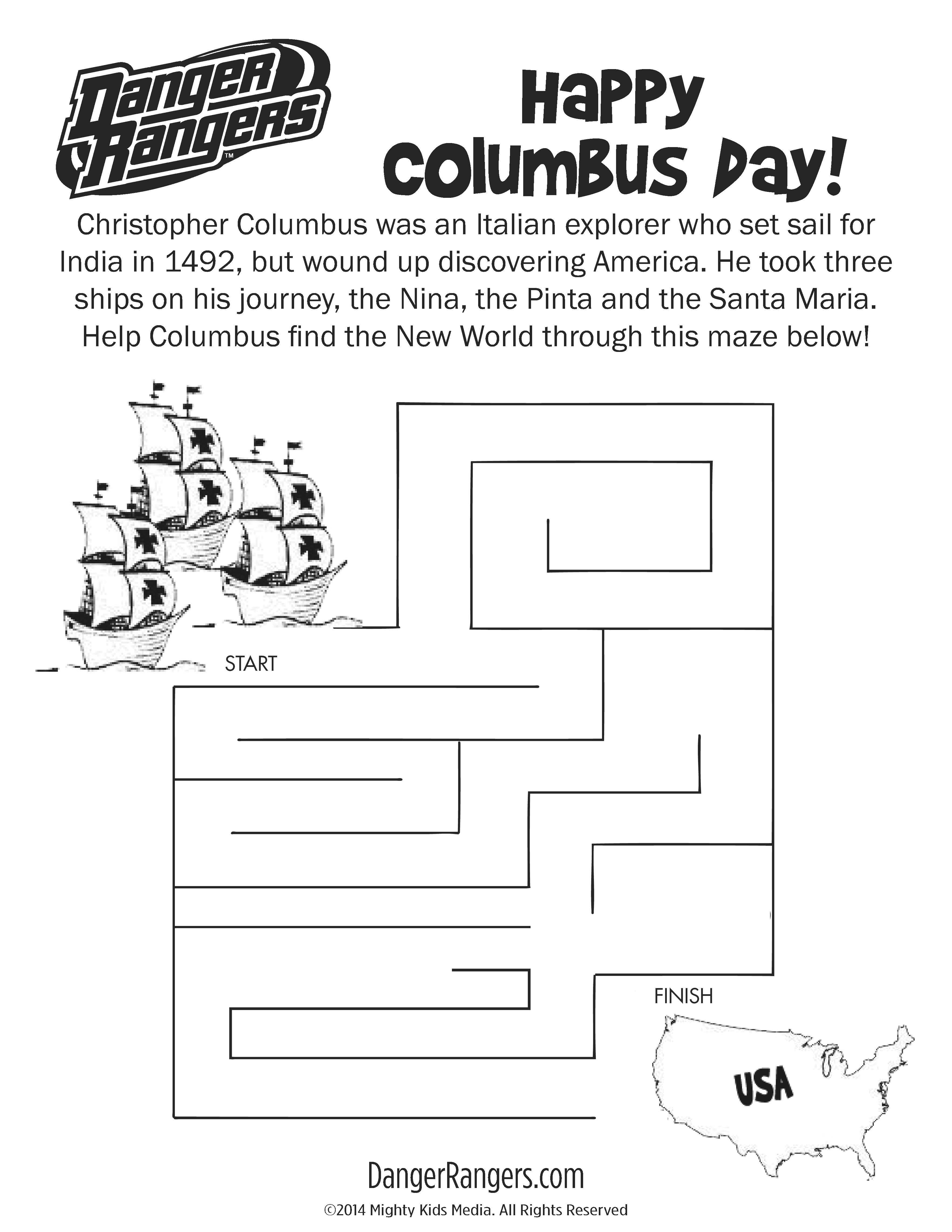 Columbus Day Maze Freeprintable