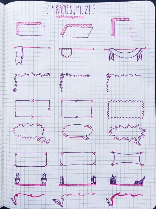 """studypetals: """" 4.6.16+11:45am // 30/100 days of productivity // made a reference page for frames (with a different color scheme!) to use while taking notes! i switched to the purple pilot g-2 because my navy one is almost out ): zoom in for better..."""
