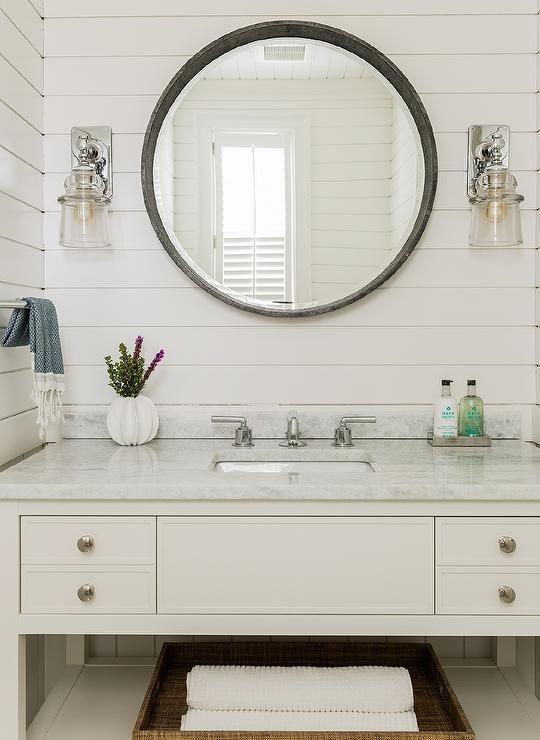 Shiplap Round Mirror Beach House Bathroom Bathroom Styling Shiplap Bathroom