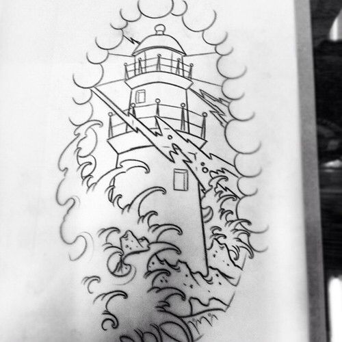 5201b40cc lighthouse japanese traditional tattoo idea | Traditional American ...