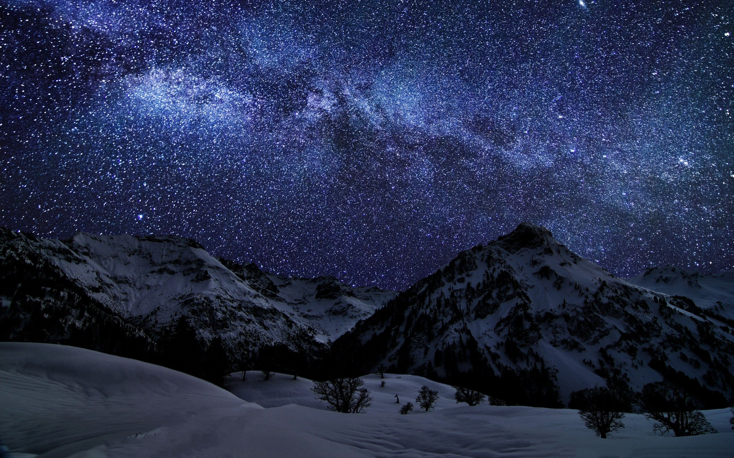 Mountains Landscapes Nature Winter Snow Night Stars Galaxies Germany Bavaria Long Exposure I Totally Love This Winter Landscape Night Skies Beautiful Nature