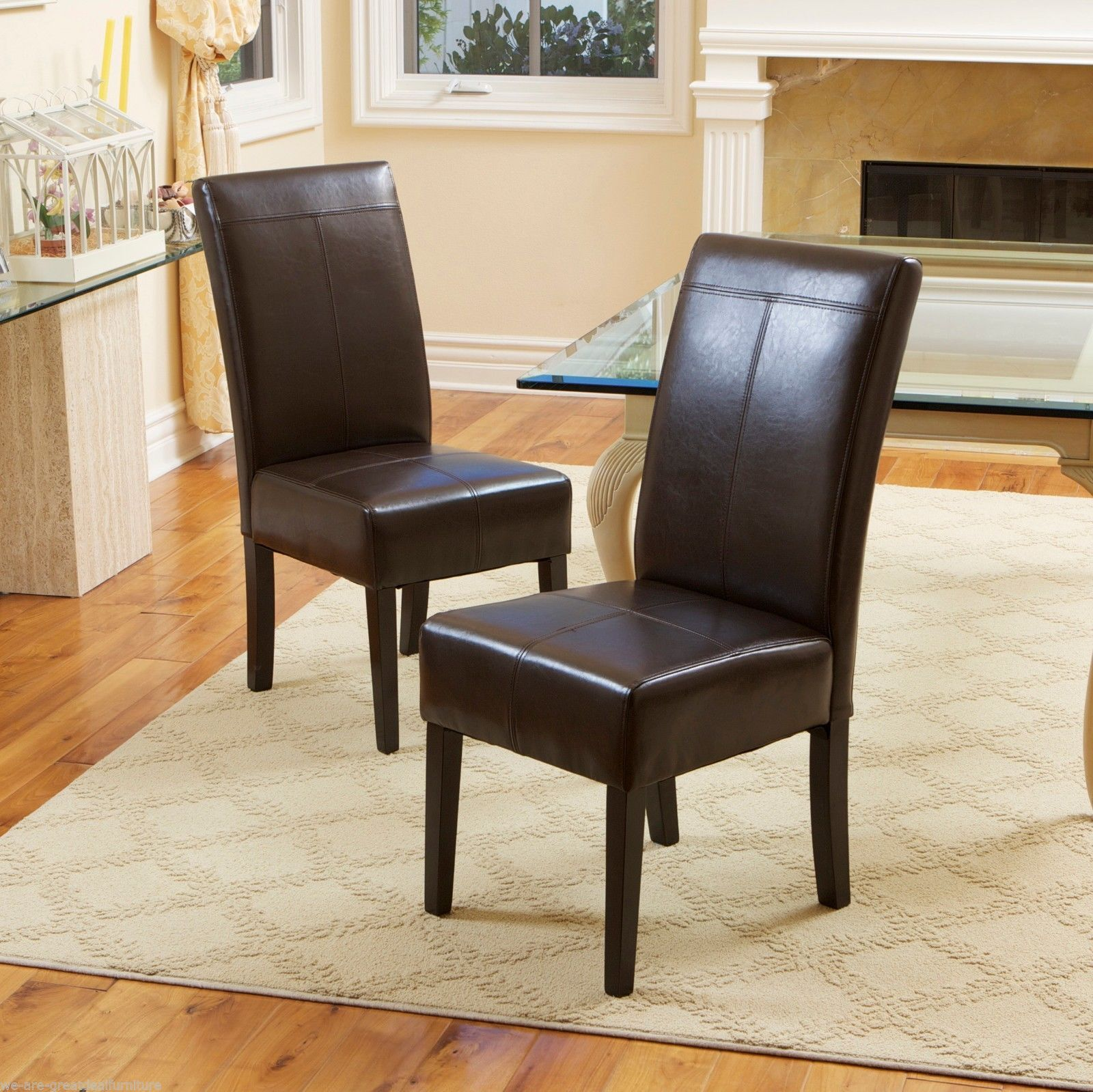 Set Of 2 Dining Room Chocolate Brown Leather Chairs