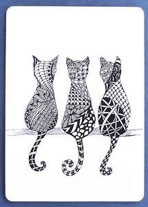 SWAP CARD. THREE CATS SITTING. ZENTANGLE ART METHOD. ARTIST NAN WRIGHT. WIDE | EBay – Zentangle