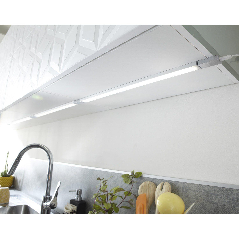 Lumiere Sous Placard Cuisine réglette à fixer plate led intégrée 55 cm rio inspire 6 w