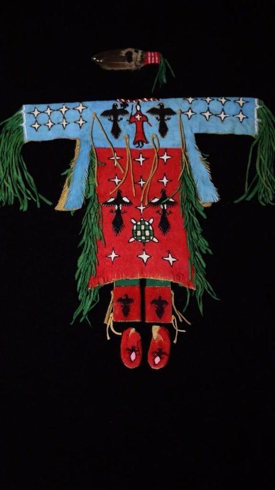 Rainbow Hand Hide Ghost Dance Dress Moccasins Fan Indians Miniature -108KG45 #RainbowHand