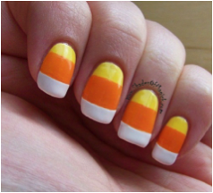 Super cute candy corn nails could do these for halloween so candy corn nails 20 easy diy halloween tricks and treats solutioingenieria Image collections