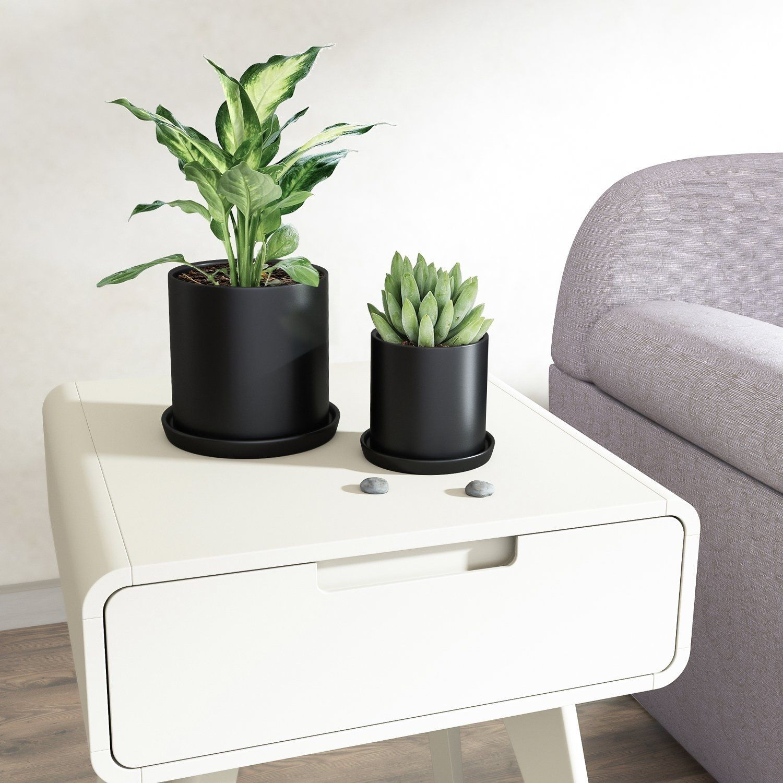 2 pcs ceramic plant pots indoor modern planters black