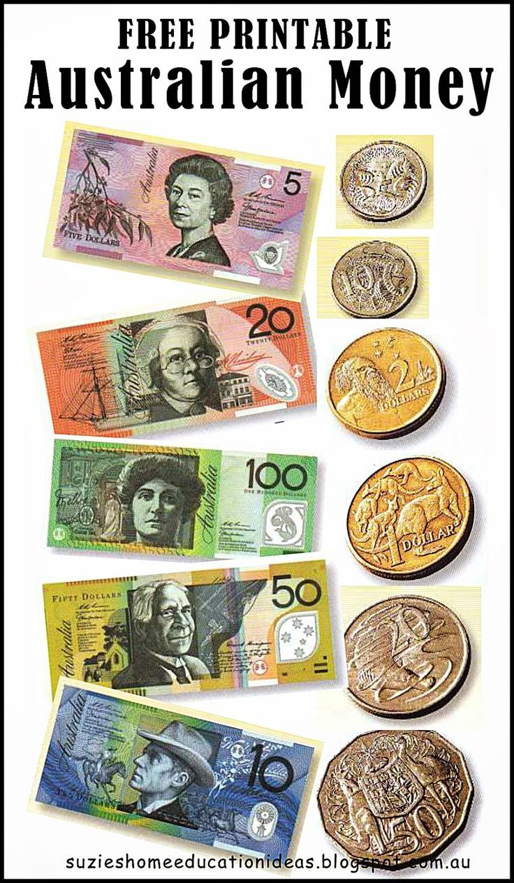 Free Printable Australian Money Notes Coins Would Be Great For Roleplaying And Maths From Suzie S Home Education Ideas