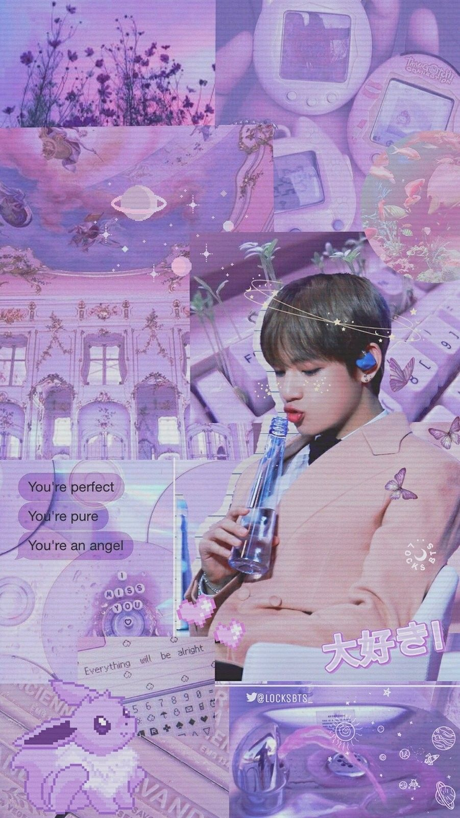 Pin By 𝐡𝐚𝐧𝐞𝐞𝐧 On Wallpapers ˎˊ Purple Aesthetic Kim Taehyung Wallpaper Bts Wallpaper