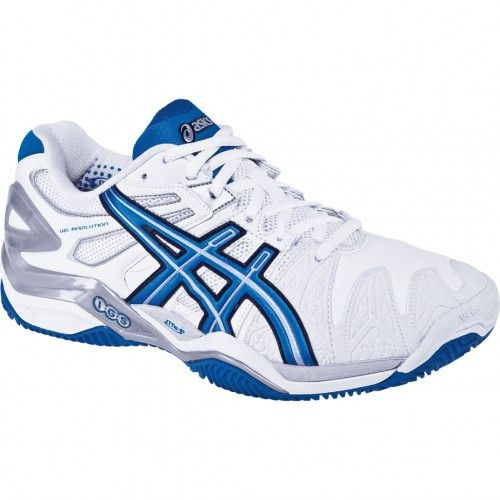 Asics GEL-Resolution 5 Clay Court Mens Tennis Shoes E352Y.0187 White-Royal