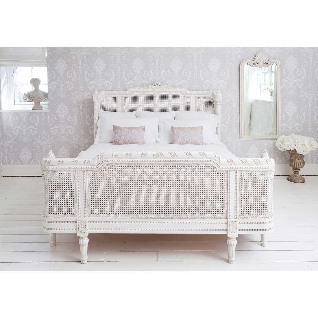 French Bed Provencal Lit Lit White Rattan King Bed Wicker