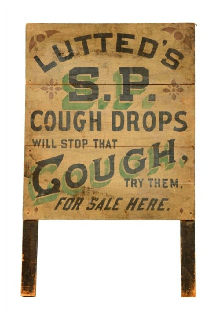 Early Original Lutted's S P  Cough Drops Sign | Country Store