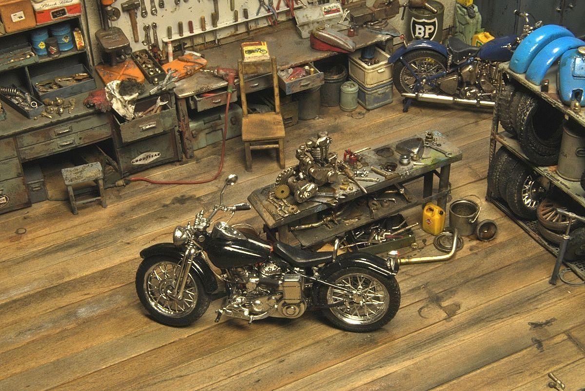 Garage Project Motorcycles Bike Shop Diecast Diorama Car Diorama