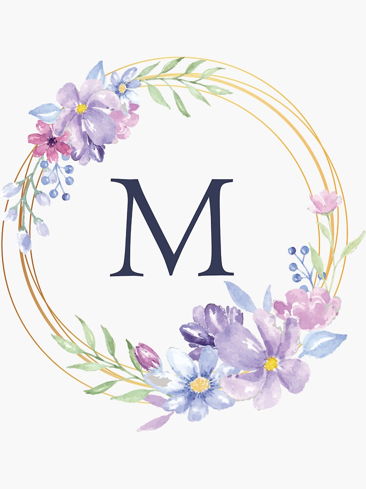 Monogram M Spring Floral Circle Sticker By Floralmonogram In 2021 Floral Monogram Letter Monogram Printable Floral Letters