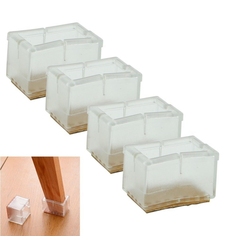 4x Rubber Furniture Table Chair Leg Feet Cap Cover Protector Transparent 16-60mm