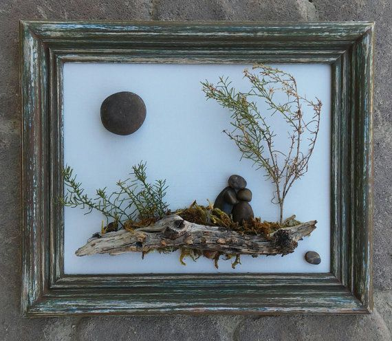 Pebble Art and Rock Art Couple sitting on a log by CrawfordBunch
