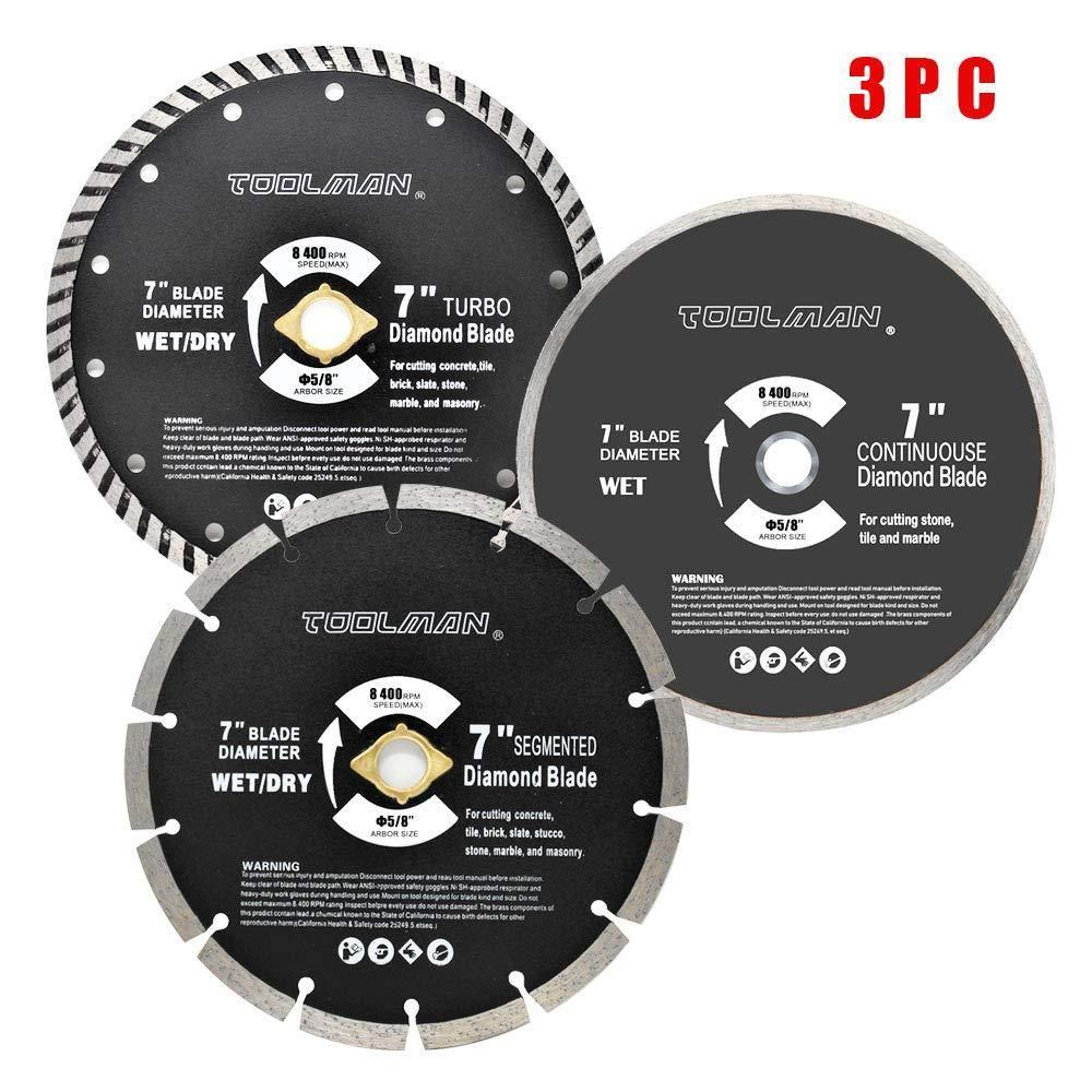 Circular Saw Blade 3 Piece Set 7 Diamond Masonry Turbo Tile Marble Concrete Toolman Jet Woodworking Tools Circular Saw Blades Woodworking Tools