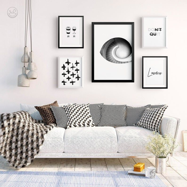 Modern Chic Wall Gallery Set Printable Wall Art Photography Love Wall Decor Digital Download Pattern Inspirational Art Set Of 5 Wall Decor Printables Wall Printables Wall Gallery