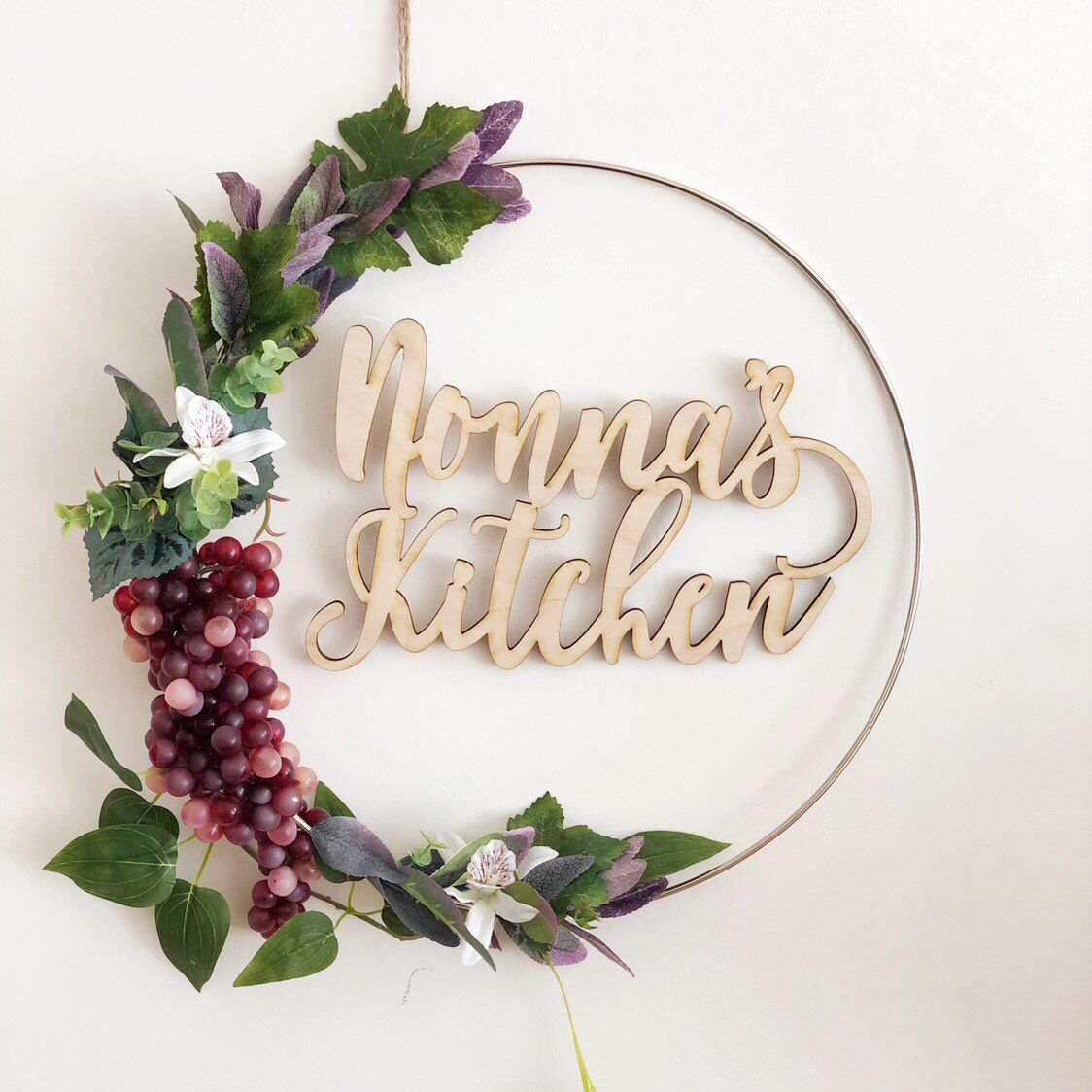 Photo of READY TO SHIP, 14″ Nonna's  Kitchen Modern Hoop Wreath, Hoop Wreath With Faux Grapes Succulents, Hoop Wreath, Minimalist Wreath, Modern