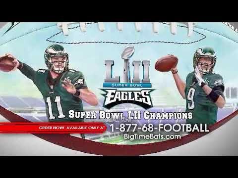 BigTimeBats.com - Eagles Super Bowl LII Champs Commemorative Art Football