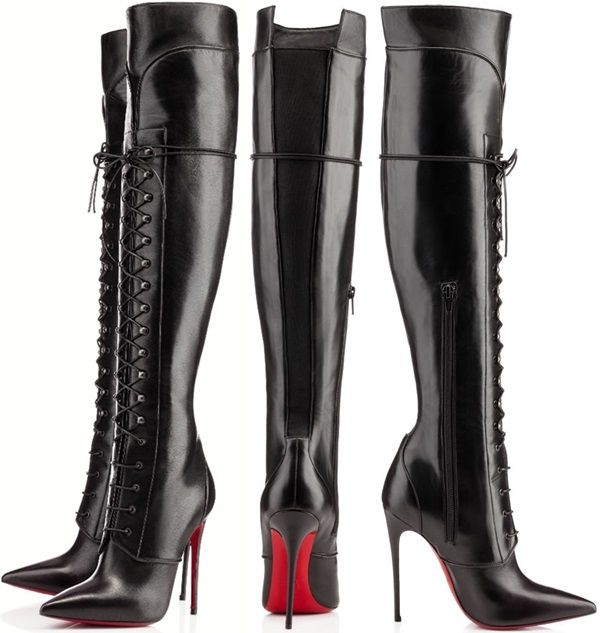 christian louboutin knee high leather boots