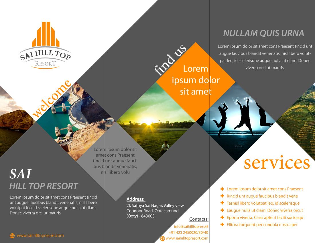 brochure layout design - brochure design for sai hill top resort latest portfolio
