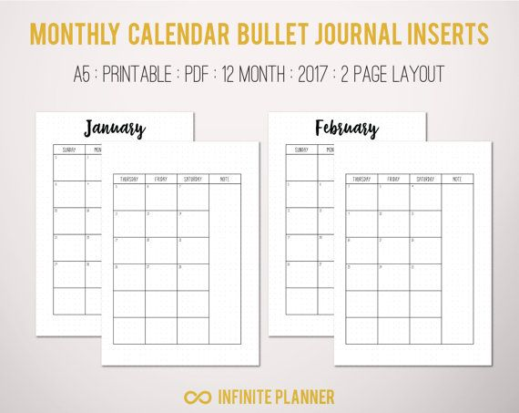 Monthly Calendar  Bullet Journal Printable By Infiniteplanner
