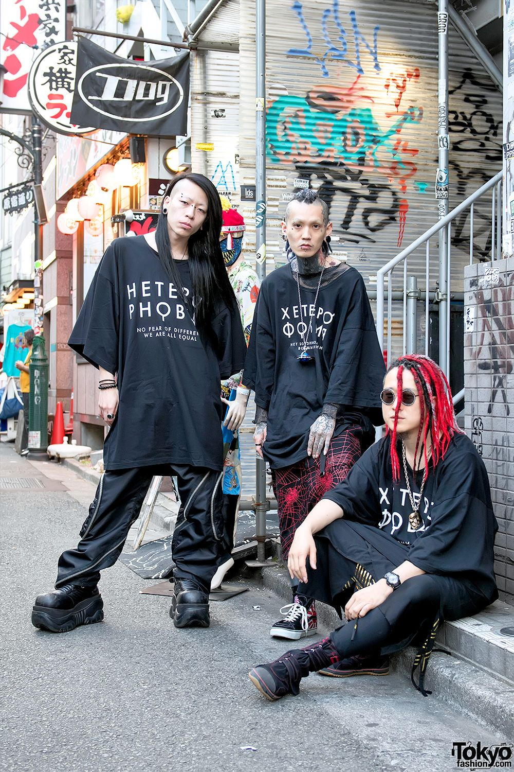 Void, Yusuke, and Kazuma in front of the famous Dog Harajuku boutique in  Tokyo